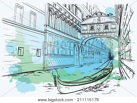 Vector illustration of hand drawn Bridge of Sighs, Venice, Italy, watercolor design