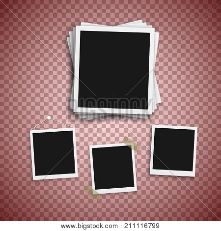 Illustration of Vector Photo Frame. Realistic Snapshot Modern Photo. Instant Album Photoframe Paper Picture. Polaroid template