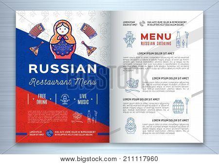 Russian food brochure Restaurant menu. Traditional russian icons - food and drink, vodka, flag, doll matryoshka, samovar, balalaika and etc. Vector illustration
