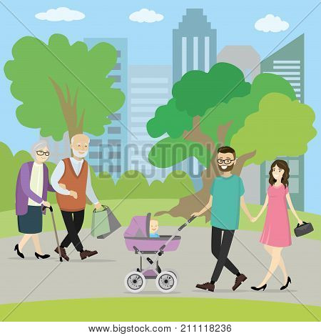 Happy young family with a baby carriage in park and couple of older people walking. Grandmother and grandfather. cartoon vector illustration