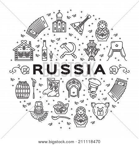 Russian line icons circle infographics. Russian traditional symbols - flag, food, matryoshka doll, vodka, samovar, balalaika, bear, USSR, ornament and etc. Vector flat illustration