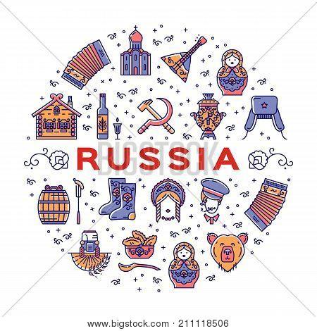 Russian line icons circle infographics. Russian traditional symbols - flag, food, matryoshka doll, vodka, samovar, balalaika, bear, USSR, ornament and etc. Vector colorful poster postcard