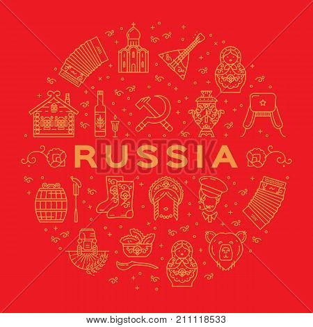 Russian icons Traditional Russian golden symbols on a red background. Flat circle infographics - flag, matryoshka doll, vodka and food, samovar, balalaika, bear, USSR, ornament and etc.