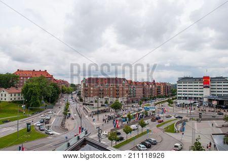 Gothenburg Sweden - July 1. 2013: Korsvagen square and transportation hub