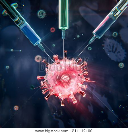 Vaccine engineering, syringes targetting a virus, 3D illustration