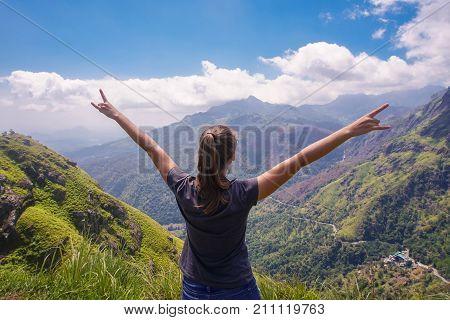 Female Tourist at Ella Peak Mountain, Sri Lanka