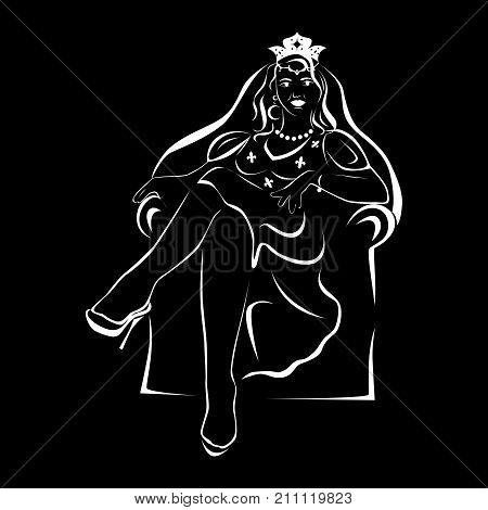 the illustration - portrait of the queen in black and white.