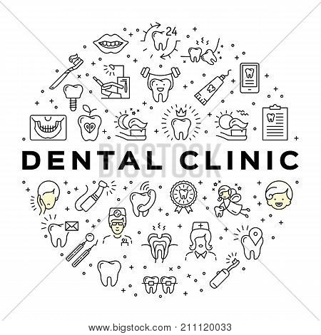 Dental clinic circle infographics Stomatology Dental care thin line art icons. Symbols teeth, dentist, smile, caries, implant, office. Dentistry vector flat illustration