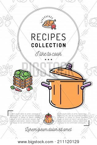 Recipe book Menu template Cookbook A4 size. Boiling pot, Speech bubble with space for text. Minimal design, Vector line icon, isolated symbols