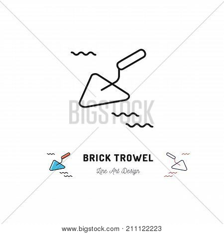 Brick trowel icon, Cement trowel sign. Building tools thin line art icons, Vector flat illustration