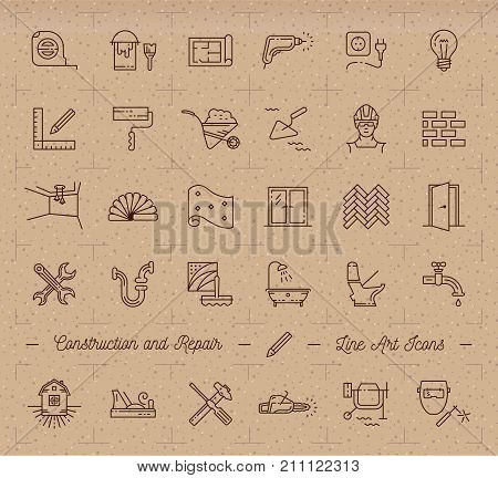 Icons repair, home renovation, building, construction symbols. Home improvement, plumbing, repair tools. Vector outline icons set on a cardboard background