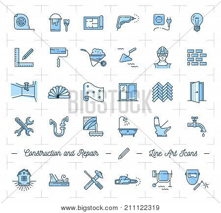Icons repair, home improvement. Construction and building tools icons set. Monochrome thin line art symbols, Vector flat illustration