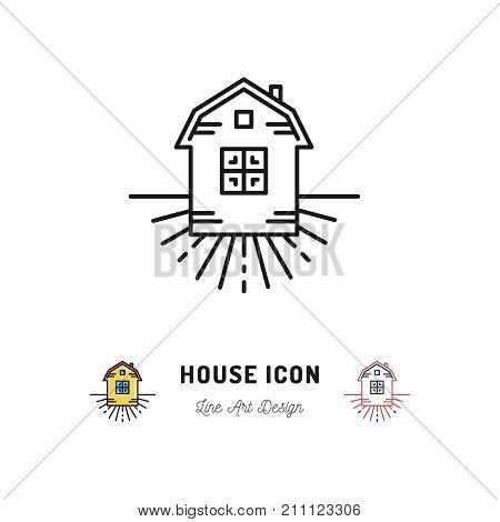 House icon, Village Apartments symbol, Homestead. Vector thin line art sign