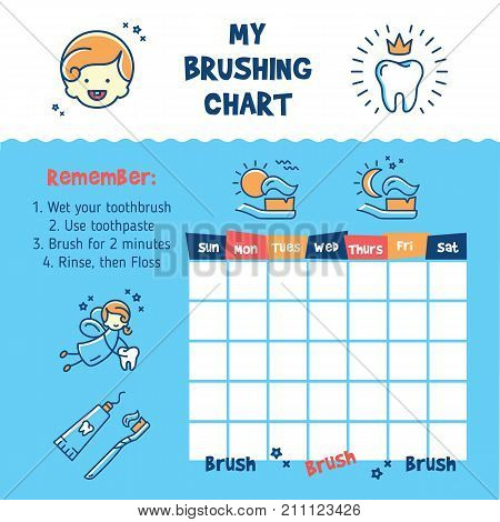 Teeth Brushing Incentive Chart. Teeth cleaning, child dental poster thin line art icons, Vector illustration