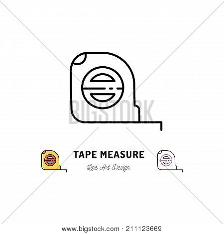 Tape measure icon. Building and household tools, Repair house. Tape measure thin line art icons, Vector flat illustration