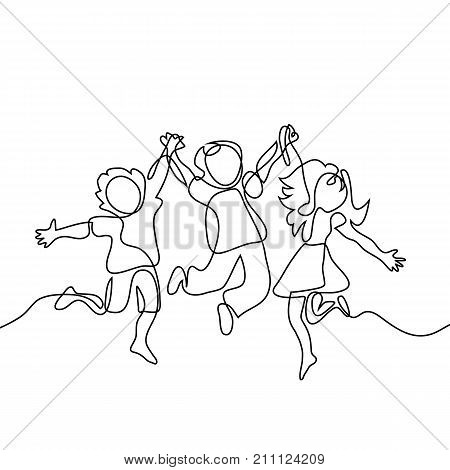 Happy Jumping Children Holding Hands