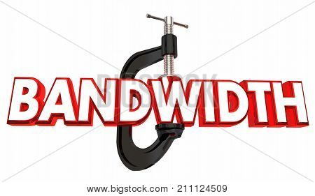Bandwidth Limited Resources Squeezing Clamp Vice Tightening 3d Illustration