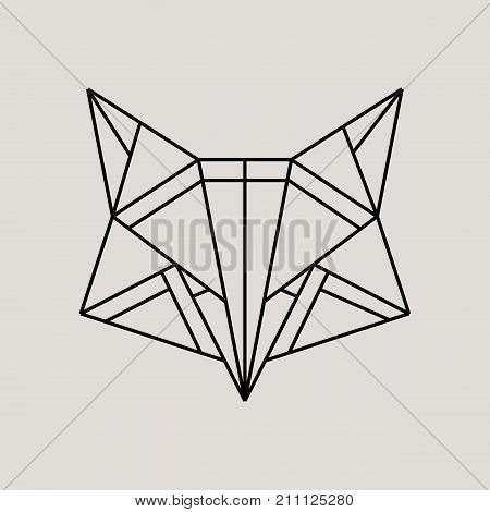 Geometric fox head isolated on grey background vintage vector design element illustration. Fox Origami Vector logo template