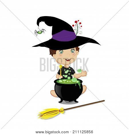 Vector illustration of cute little wizard boy in halloween costume with boiling cauldron wand and broom isolated on white background.