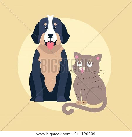 Large dog sitting with cute kitten flat vector isolated on white background. Lovely purebred cartoon pets illustration for animal friends and companions concepts, vet clinic ad