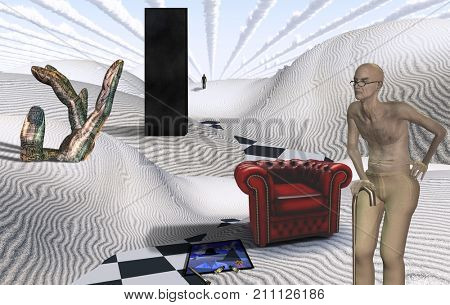 Surreal white desert with Black Monolith. Old man and red armchair. Figure of man in a distance. 3D rendering
