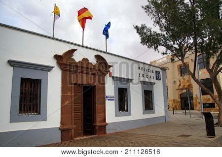 Antiqua, Fuerteventura, Canary Islands, Spain - October 22, 2017: Front of Spanish local police station in the city of Antiqua, Spain.