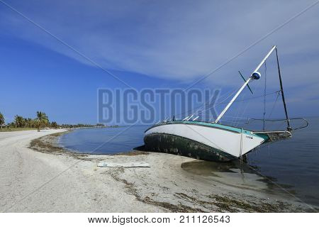 Boat Washed Up On Smathers Beach South Roosevelt Ave. Key West Florida After Hurricane Irma
