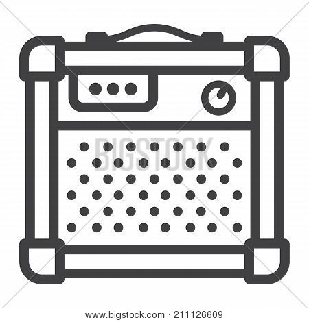 Amplifier line icon, music and instrument, sound sign vector graphics, a linear pattern on a white background, eps 10.