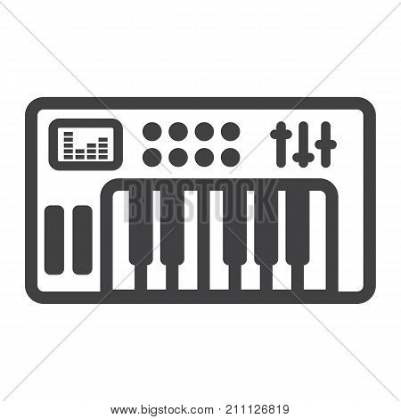 Analog synthesizer line icon, music and instrument, piano sign vector graphics, a linear pattern on a white background, eps 10.