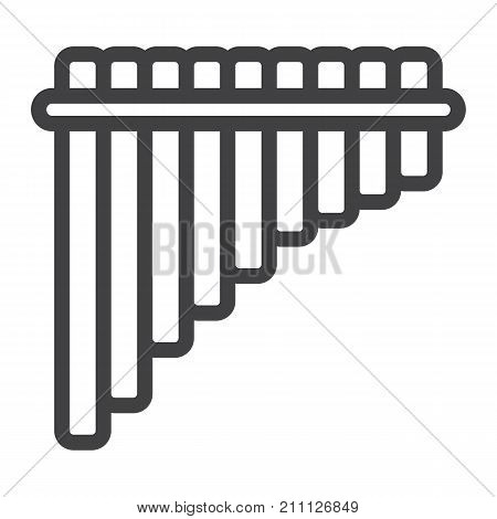 Mexican pan flute line icon, music and instrument, panpipe sign vector graphics, a linear pattern on a white background, eps 10.