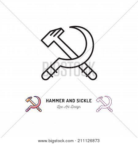 Hammer and Sickle icon, Communist symbol Russian Revolution. Thin line art design, Vector outline illustration