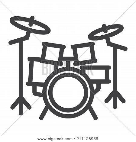 Drum kit line icon, music and instrument, beat sign vector graphics, a linear pattern on a white background, eps 10.
