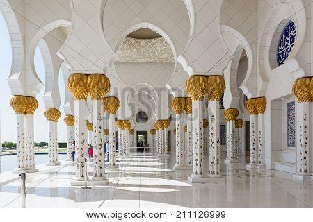 ABU DHABI, UNITED ARAB EMIRATES - DECEMBER 5, 2016: Sheikh Zayed Grand Mosque in Abu Dhabi, the capital city of United Arab Emirates.