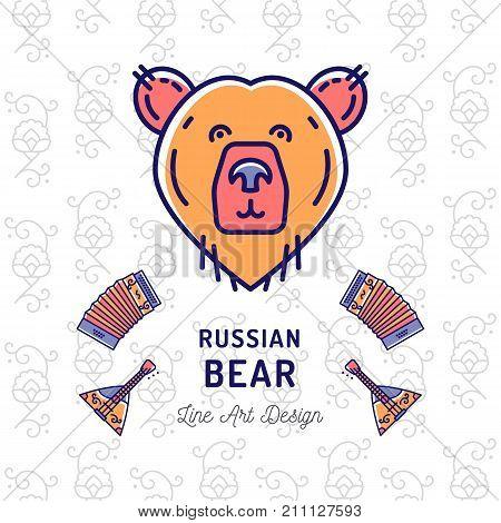 Russian Bear icon. Traveling in Russia ultra-trendy banner, thin line art icons: bear, balalaika, accordion, russian pattern. Vector flat card