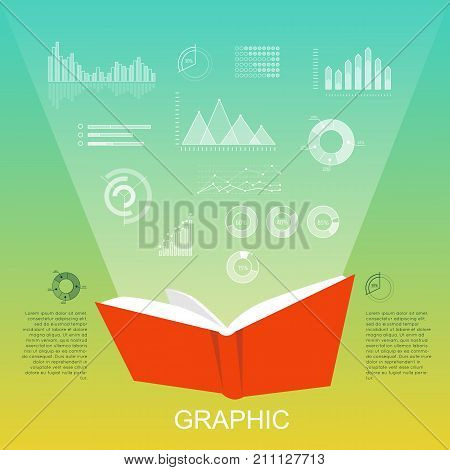 Open red book that lighten column charts, round and triangular diagrams on light green background. Vector illustration of white diagrams, paper book and informative text near book in flat style