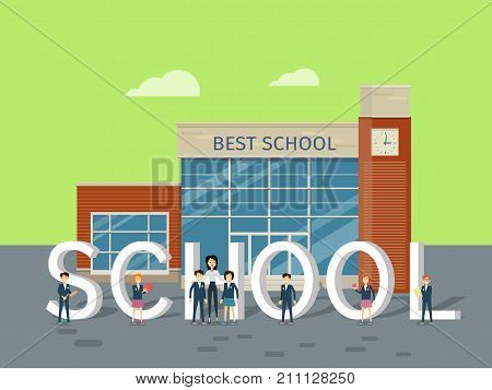 Best school concept. Modern school building with happy pupils and teacher on school yard flat vector illustrations. Children s education. Learning favorite school subjects. For private school web page