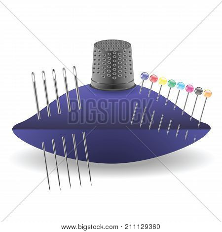 colorful illustration with needles and trimble a white background