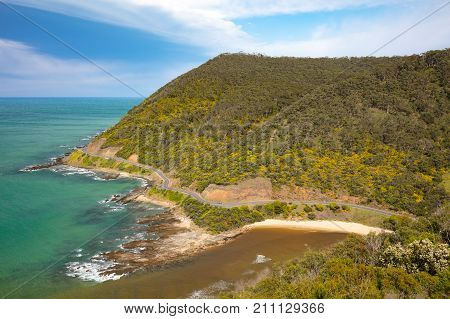 The view from Teddy's Lookout in Lorne over the Great Ocean Rd on a sunny spring day in Victoria, Australia