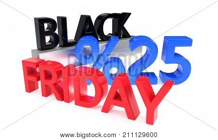 Twentyfive percent discounts on Black Friday, 3d rendering