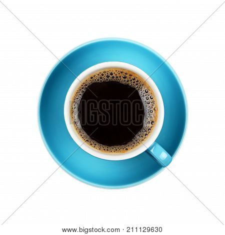Full Black Coffee In Blue Cup Close Up Isolated