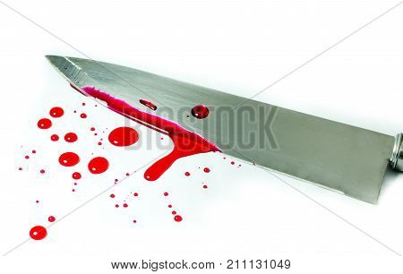 Bloody red and knife on white background