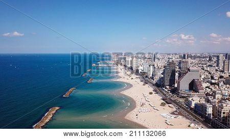 Tel Aviv coastline and skyline as seen from The Mediterranean sea.