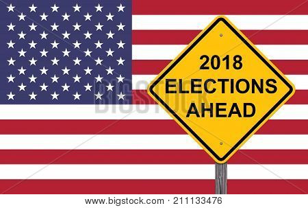 Caution Sign - 2018 Election Ahead Flag Background