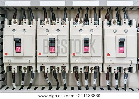 Electical distribution fuseboard. Electrical supplies. Electrical panel at a assembly line factory. Electric controls and switches. Electricity distribution box. Fusebox.