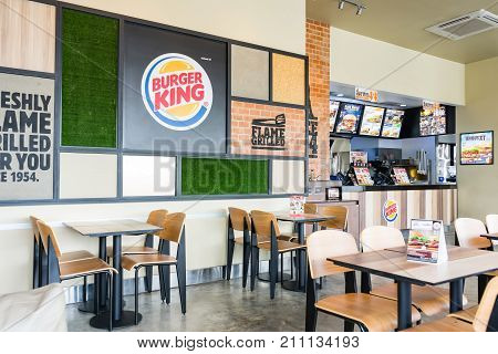 BANGKOK, THAILAND - SEPTEMBER 10, 2017: inside of Burger King restaurant. Burger King often abbreviated as BK is an American global chain of hamburger fast food restaurants.