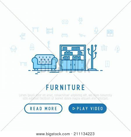 Furniture concept. Template for web page with thin line icons of coach, bookcase and floor hanger. Modern vector illustration.
