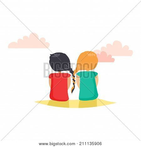 Two girls with closely interwoven braids. Friends sitting on ground and looking at far away. Vector web banner about friendship in cartoon style. Friends day fun pastime with loved reliable friend.