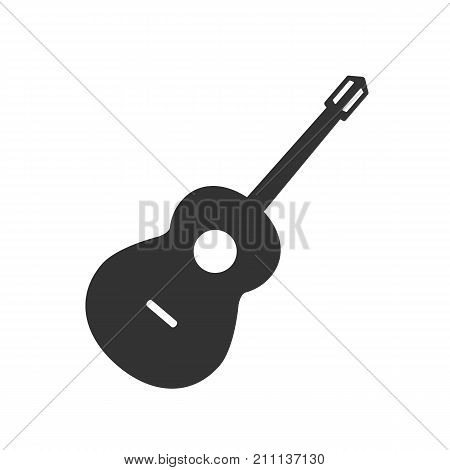 Guitar in flat design. Guitar icon isolated on background. Vector stock.
