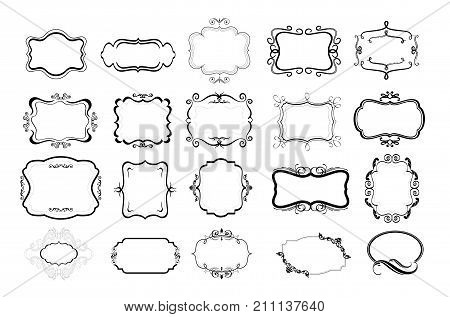 Fancy hand drawn frames vector set, high quality