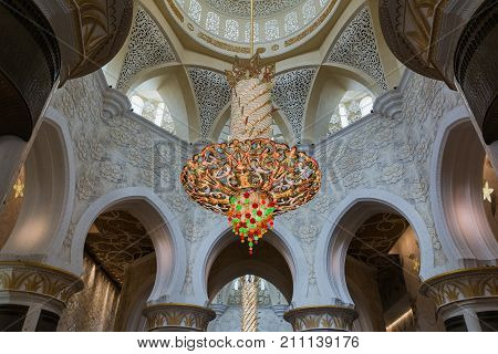 ABU DHABI, UNITED ARAB EMIRATES - DECEMBER 5, 2016: Interior of Sheikh Zayed Grand Mosque in Abu Dhabi, the capital city of United Arab Emirates.